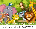 group of animals in jungle... | Shutterstock .eps vector #1166657896