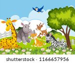 animals in the jungle... | Shutterstock .eps vector #1166657956