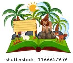 animal jungle scene pop up book ... | Shutterstock .eps vector #1166657959