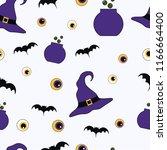 seamless pattern eyes  bat and... | Shutterstock .eps vector #1166664400