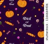 seamless pattern pumpkin and... | Shutterstock .eps vector #1166664406