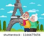 smiling old couple doing selfie ... | Shutterstock . vector #1166675656