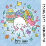 doodle cheerful bunny with... | Shutterstock .eps vector #1166705023