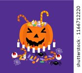 candy basket halloween party | Shutterstock .eps vector #1166712220