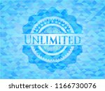 unlimited sky blue emblem.... | Shutterstock .eps vector #1166730076
