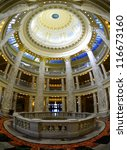 State capital building dome with lights and glass - stock photo