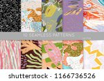 collection of seamless patterns.... | Shutterstock .eps vector #1166736526
