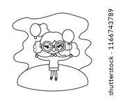 line girl child with glasses... | Shutterstock .eps vector #1166743789