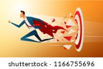super businessman running and... | Shutterstock .eps vector #1166755696