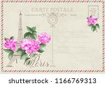 old blank postcard with post... | Shutterstock .eps vector #1166769313
