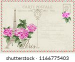 old blank postcard with post... | Shutterstock .eps vector #1166775403