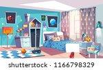 kid boy room interior vector... | Shutterstock .eps vector #1166798329