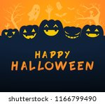six spooky pumpkins. greeting... | Shutterstock .eps vector #1166799490