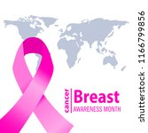 realistic pink ribbon  breast... | Shutterstock .eps vector #1166799856