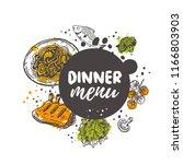 dinner menu concept design.... | Shutterstock .eps vector #1166803903