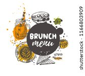 brunch menu concept design.... | Shutterstock .eps vector #1166803909