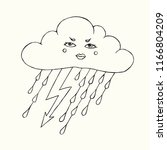 rainy cloud with thunder and... | Shutterstock .eps vector #1166804209