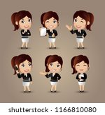 women with different poses | Shutterstock .eps vector #1166810080
