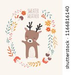 vector postcard with deer... | Shutterstock .eps vector #1166816140