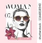 typography slogan with girl in... | Shutterstock .eps vector #1166818540