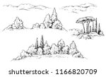 hand drawn fragments of rural... | Shutterstock .eps vector #1166820709