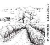 hand drawn rural scene with... | Shutterstock .eps vector #1166825179