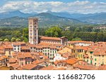 View Over Italian Town Lucca...