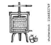 apple cider juice press...   Shutterstock . vector #1166832769