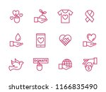 set of charity line icons.... | Shutterstock .eps vector #1166835490