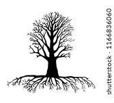 tree silhouette with roots | Shutterstock .eps vector #1166836060