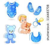 set of elements for a baby boys | Shutterstock .eps vector #116683708