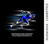 hologram running man on a black ... | Shutterstock .eps vector #1166837413