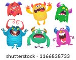 cartoon monsters. vector set of ... | Shutterstock .eps vector #1166838733