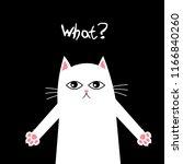 white cat on black background... | Shutterstock .eps vector #1166840260