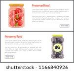 preserved vegetables banners ... | Shutterstock .eps vector #1166840926