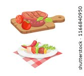 beefsteak and skewer isolated... | Shutterstock .eps vector #1166840950