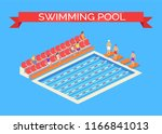 swimming pool and sportsmen... | Shutterstock .eps vector #1166841013