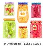 preserved food homemade jars... | Shutterstock .eps vector #1166841016