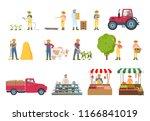 farmer work agriculture... | Shutterstock .eps vector #1166841019