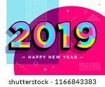 2019 happy new year vector card.... | Shutterstock .eps vector #1166843383