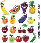 cartoon fruits and vegetables | Shutterstock .eps vector #116684530