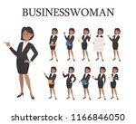 businesswoman doing different... | Shutterstock .eps vector #1166846050