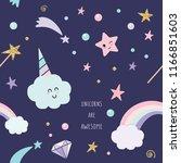 unicorn magic seamless pattern... | Shutterstock .eps vector #1166851603