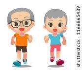 vector cute elderly characters...   Shutterstock .eps vector #1166865439