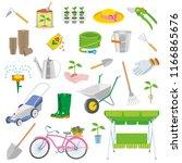 spring garden icon tool set...   Shutterstock . vector #1166865676