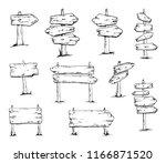 wooden signboards  wood arrow...   Shutterstock .eps vector #1166871520