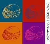 pop art hockey helmet with mask.... | Shutterstock .eps vector #1166889739