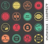 sale labels. set of shop stamps.... | Shutterstock . vector #1166898379