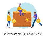 people investing gold coins... | Shutterstock .eps vector #1166901259