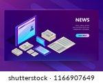 news and media vector... | Shutterstock .eps vector #1166907649